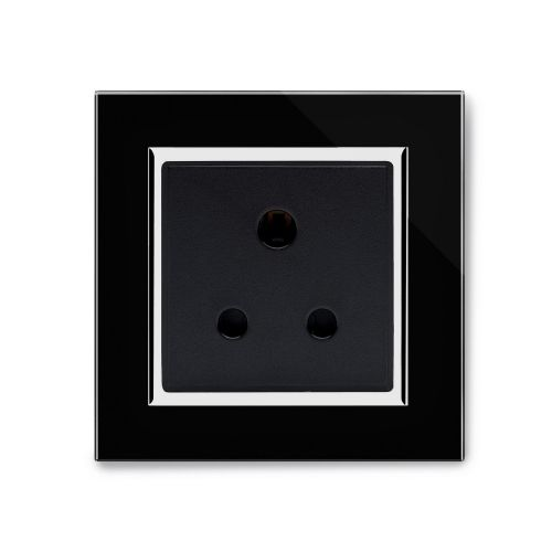 RetroTouch Single 5 Amp Round Pin Plug Socket Black Glass CT 04003